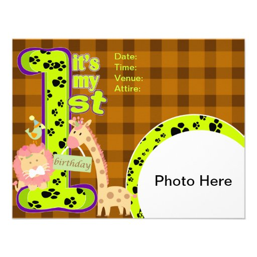 zoo Theme 1st Birthday Invitation Card Custom Announcements