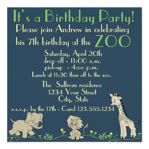 Zoo Themed  Birthday Party Invitation
