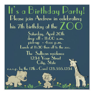 Zoo Themed  Birthday Party 5.25x5.25 Square Paper Invitation Card