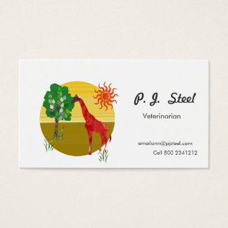 Zoology Giraffe Under Sun Illustration Business Card