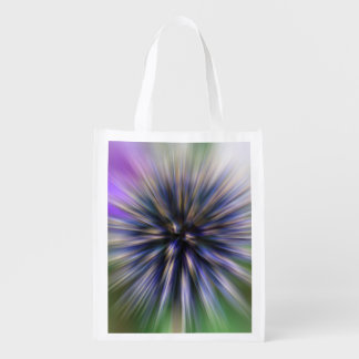 Zoom Flower Purple and Green Digital Art Reusable Grocery Bag