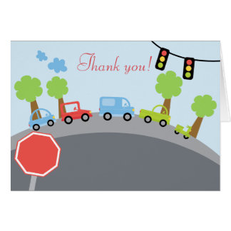 Zoom Zoom Cars Folded Thank you notes Note Card