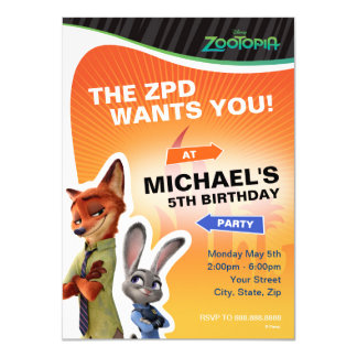 Zootopia Birthday Card