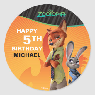 Zootopia Birthday Classic Round Sticker