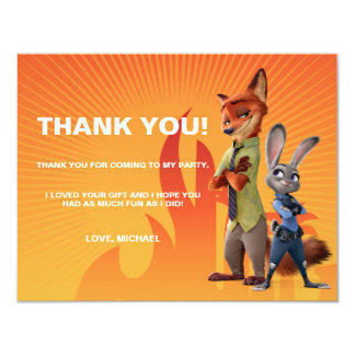 Zootopia Birthday - Thank You Card