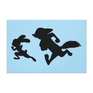 Zootopia   Judy & Nick Running Silhouette Canvas Print