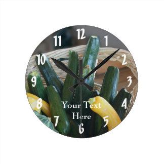 Zucchini And Summer Squash Nature Round Clock