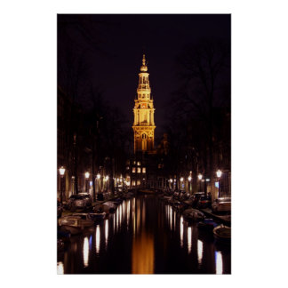Zuiderkerk in Amsterdam Netherlands at night Poster