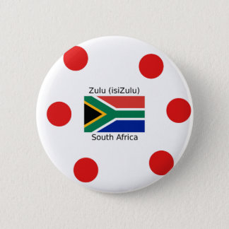 Zulu (isiZulu) Language And South Africa Flag 2 Inch Round Button