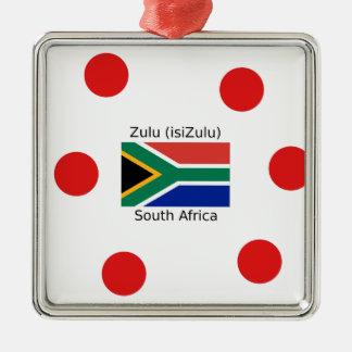 Zulu (isiZulu) Language And South Africa Flag Metal Ornament