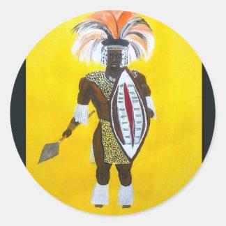 Zulu Warrior Classic Round Sticker
