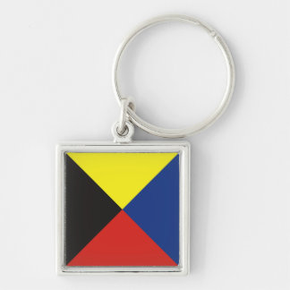 Zulu (Z) Signal Flag Silver-Colored Square Keychain