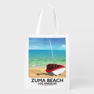 Zuma Beach LA Rail beach poster Reusable Grocery Bag