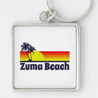 Zuma Beach Silver-Colored Square Keychain