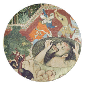 Zumrud Shah falls into a pit and is beaten by gard Dinner Plate