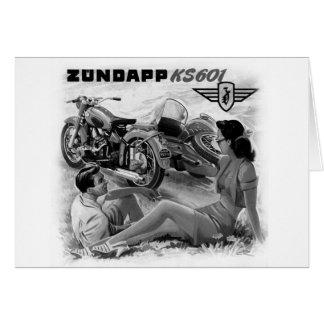 Zundapp Vintage Motorcycle Sidecar Ad Art Card