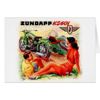 Zundapp Vintage Motorcycle Sidecar Ad Art Greeting Card