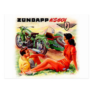 Zundapp Vintage Motorcycle Sidecar Ad Art Postcard