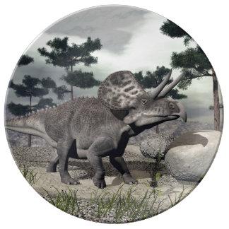 Zuniceratops dinosaur - 3D render Porcelain Plates