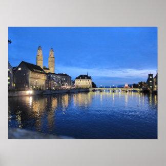 Zurich at Dusk Print