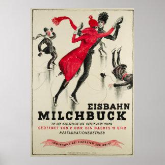 Zürich, Eisbahn Milchbuck Vintage Poster