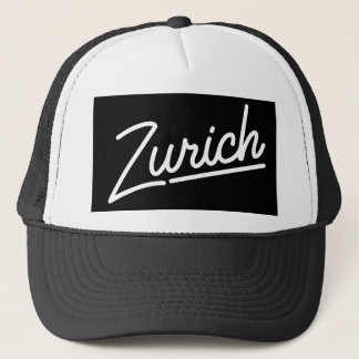 Zurich in white trucker hat