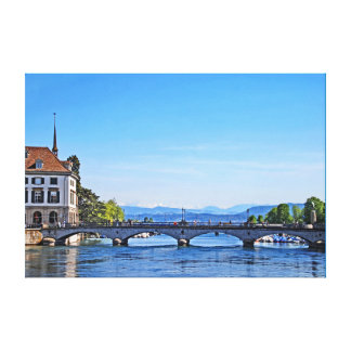 Zurich. Limmat. City Hall and Bridge. Canvas Print