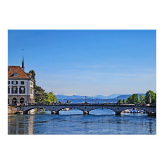 Zurich. Limmat. City Hall and Bridge. Poster