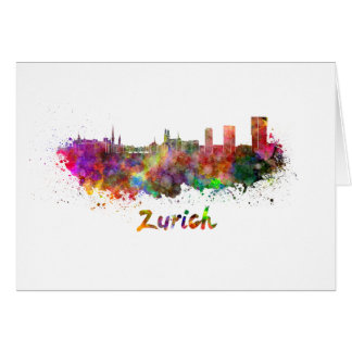 Zurich skyline in watercolor card