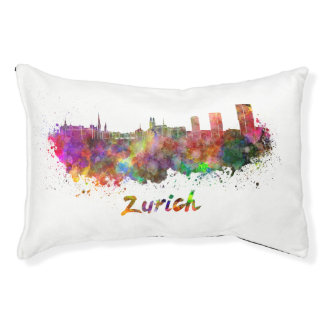 Zurich skyline in watercolor small dog bed
