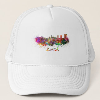 Zurich skyline in watercolor trucker hat