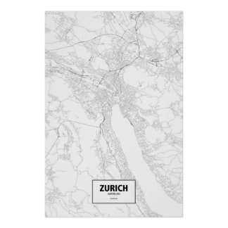 Zurich, Switzerland (black on white) Poster