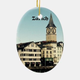 Zurich, Switzerland Ceramic Oval Ornament