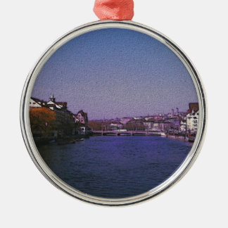Zurich Switzerland Digital art. Silver-Colored Round Ornament