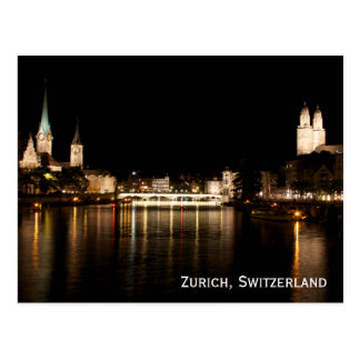 Zurich Switzerland Night Lights Postcard