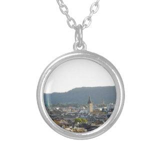 Zurich Switzerland Skyline Silver Plated Necklace