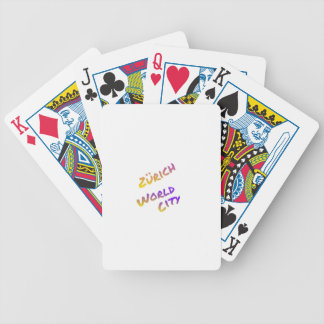 Zürich world city, colorful text art bicycle playing cards