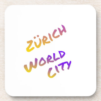 Zürich world city, colorful text art coasters