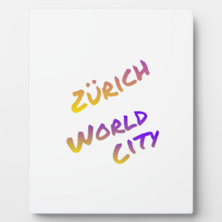 Zürich world city, colorful text art plaques