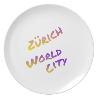 Zürich world city, colorful text art plate