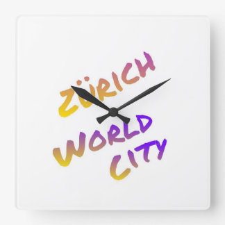 Zürich world city, colorful text art square wall clock