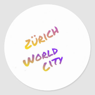 Zürich world city letter art color Europa Classic Round Sticker