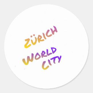 Zürich world city letter art color Europa Round Sticker