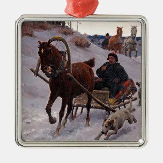 Zygmunt_Ajdukiewicz_Polnische_Schlittenfahrt Metal Ornament