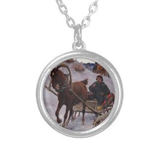 Zygmunt_Ajdukiewicz_Polnische_Schlittenfahrt Silver Plated Necklace